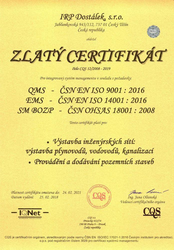 Zlatý certifikát IQNet, CQS